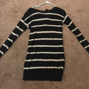 Black and white stripped sweater dress